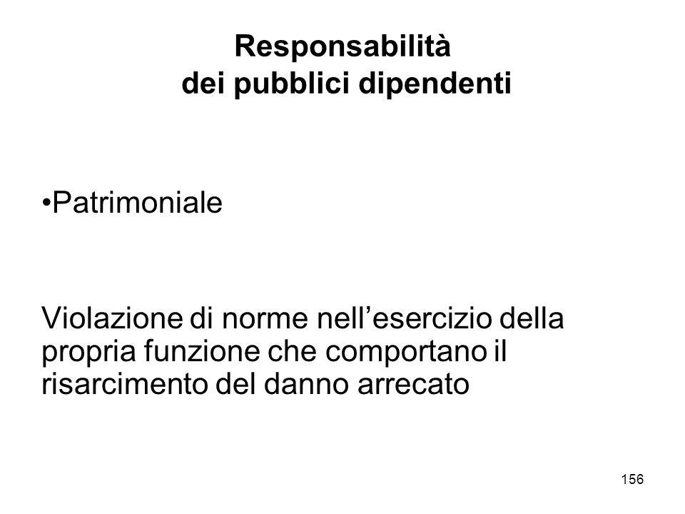156 Responsabilità dei pubblici dipendenti Patrimoniale Violazione di norme nellesercizio della propria funzione che comportano il risarcimento del danno arrecato