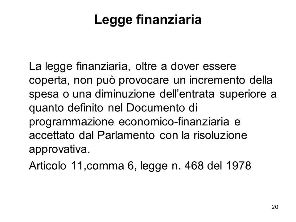 20 Legge finanziaria La legge finanziaria, oltre a dover essere coperta, non può provocare un incremento della spesa o una diminuzione dellentrata superiore a quanto definito nel Documento di programmazione economico-finanziaria e accettato dal Parlamento con la risoluzione approvativa.