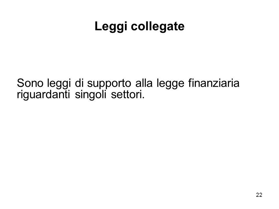 22 Leggi collegate Sono leggi di supporto alla legge finanziaria riguardanti singoli settori.