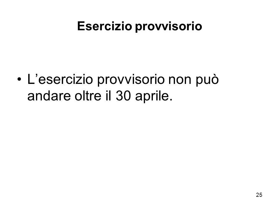 25 Esercizio provvisorio Lesercizio provvisorio non può andare oltre il 30 aprile.