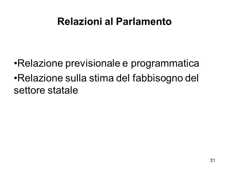 31 Relazioni al Parlamento Relazione previsionale e programmatica Relazione sulla stima del fabbisogno del settore statale