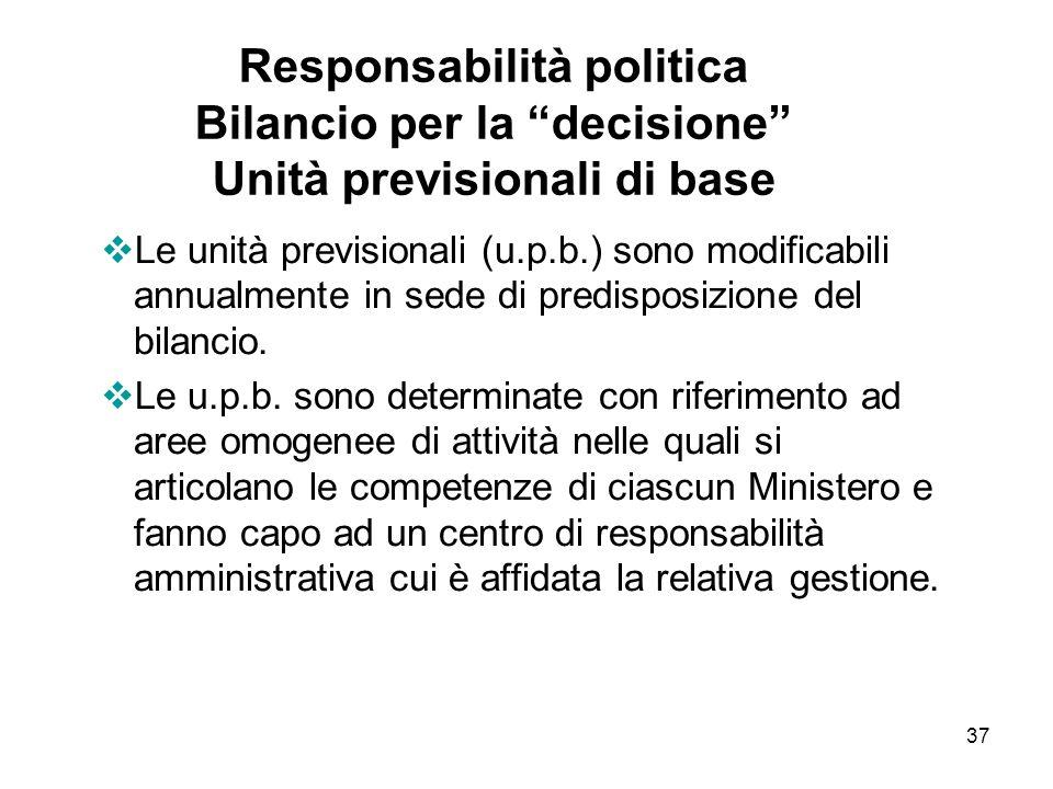 37 Responsabilità politica Bilancio per la decisione Unità previsionali di base Le unità previsionali (u.p.b.) sono modificabili annualmente in sede di predisposizione del bilancio.