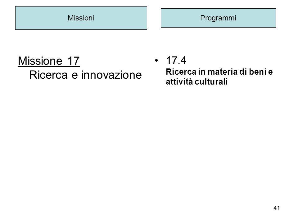 41 Missione 17 Ricerca e innovazione Missioni Programmi 17.4 Ricerca in materia di beni e attività culturali