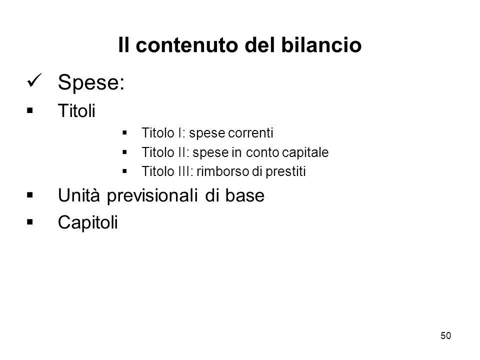 50 Il contenuto del bilancio Spese: Titoli Titolo I: spese correnti Titolo II: spese in conto capitale Titolo III: rimborso di prestiti Unità previsionali di base Capitoli