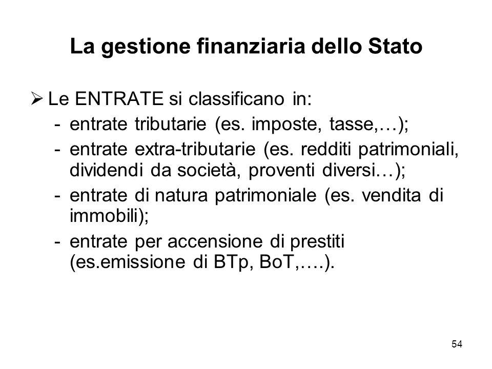54 La gestione finanziaria dello Stato Le ENTRATE si classificano in: -entrate tributarie (es.