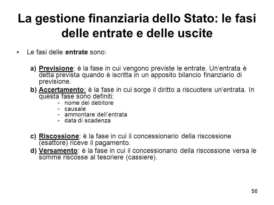 56 La gestione finanziaria dello Stato: le fasi delle entrate e delle uscite Le fasi delle entrate sono: a)Previsione: è la fase in cui vengono previste le entrate.