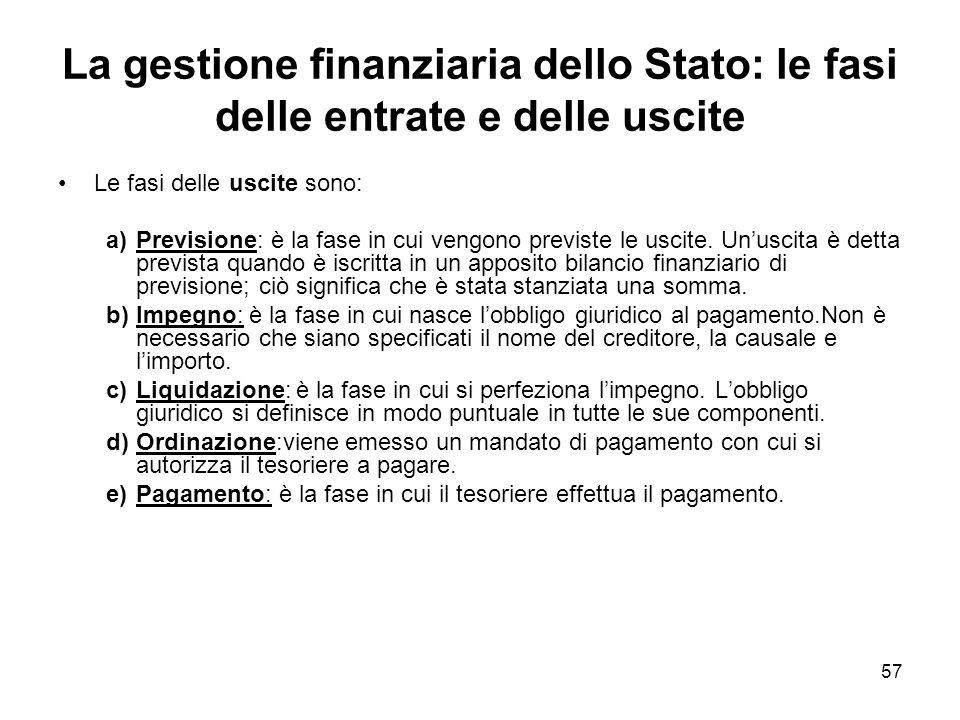 57 La gestione finanziaria dello Stato: le fasi delle entrate e delle uscite Le fasi delle uscite sono: a)Previsione: è la fase in cui vengono previste le uscite.