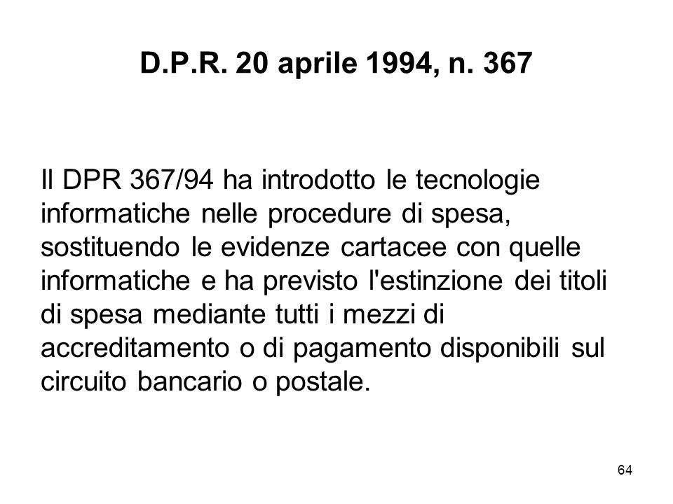 64 D.P.R. 20 aprile 1994, n.