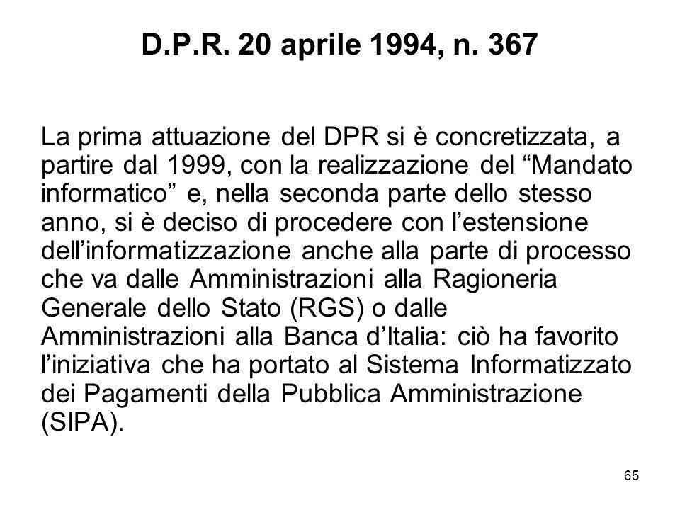 65 D.P.R.20 aprile 1994, n.