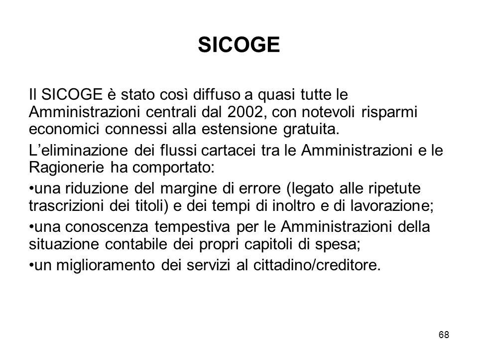 68 SICOGE Il SICOGE è stato così diffuso a quasi tutte le Amministrazioni centrali dal 2002, con notevoli risparmi economici connessi alla estensione gratuita.