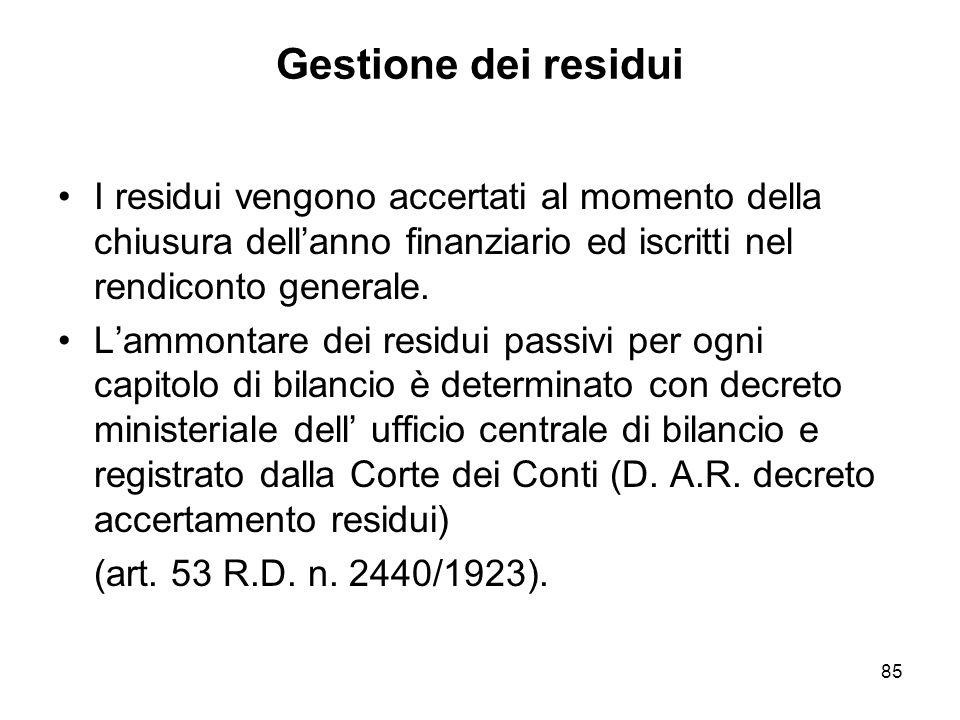 85 Gestione dei residui I residui vengono accertati al momento della chiusura dellanno finanziario ed iscritti nel rendiconto generale.