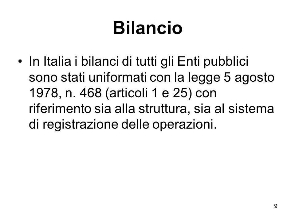 9 Bilancio In Italia i bilanci di tutti gli Enti pubblici sono stati uniformati con la legge 5 agosto 1978, n.