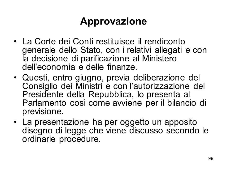 99 Approvazione La Corte dei Conti restituisce il rendiconto generale dello Stato, con i relativi allegati e con la decisione di parificazione al Ministero delleconomia e delle finanze.