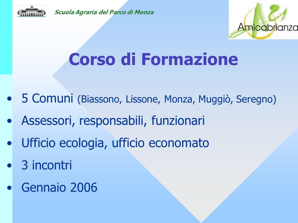 Scuola Agraria del Parco di Monza Corso di Formazione 5 Comuni (Biassono, Lissone, Monza, Muggiò, Seregno) Assessori, responsabili, funzionari Ufficio