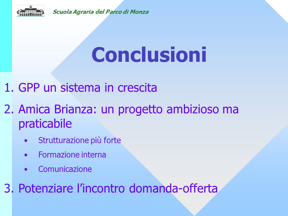 Scuola Agraria del Parco di Monza Conclusioni 1.GPP un sistema in crescita 2.Amica Brianza: un progetto ambizioso ma praticabile Strutturazione più fo