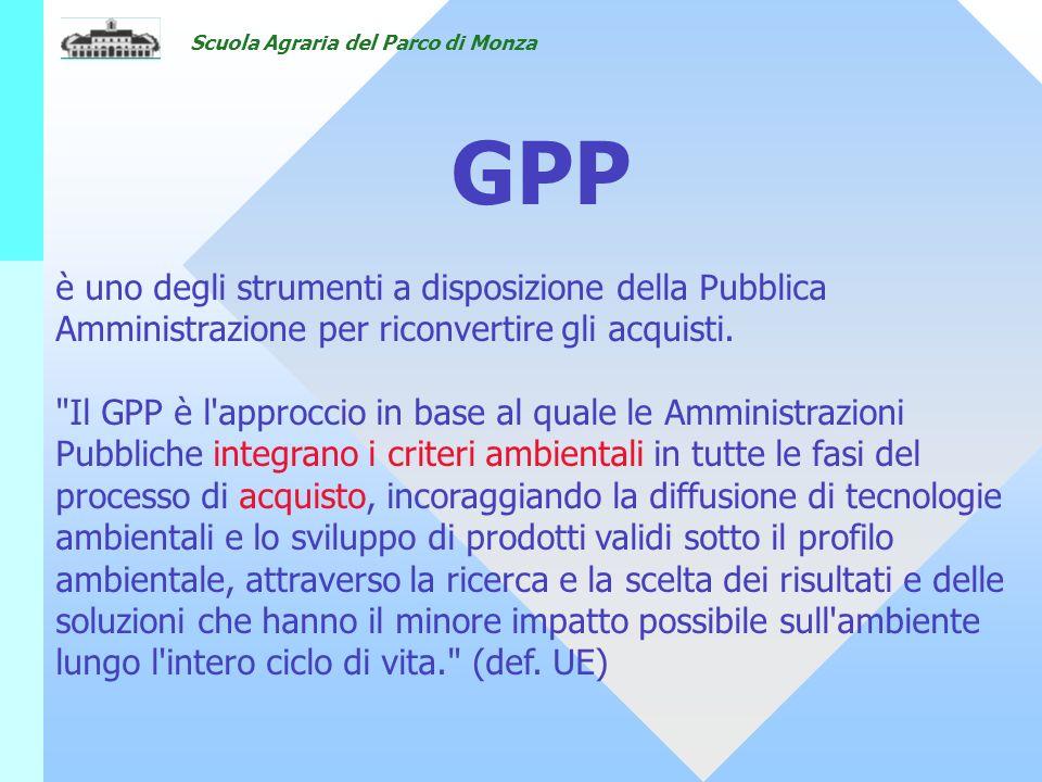 Scuola Agraria del Parco di Monza è uno degli strumenti a disposizione della Pubblica Amministrazione per riconvertire gli acquisti.