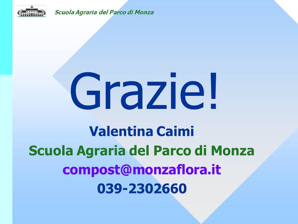 Scuola Agraria del Parco di Monza Grazie! Valentina Caimi Scuola Agraria del Parco di Monza compost@monzaflora.it 039-2302660