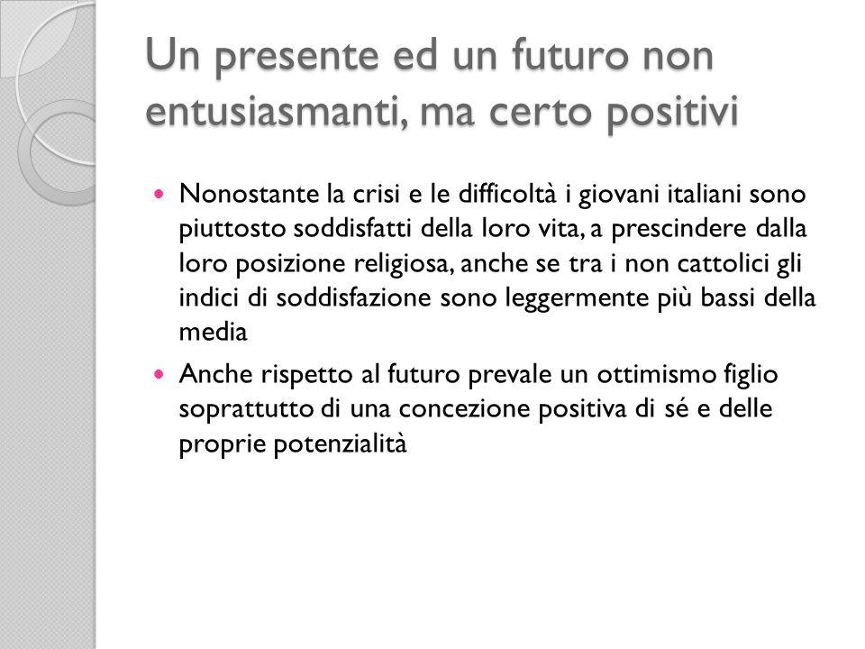Un presente ed un futuro non entusiasmanti, ma certo positivi Nonostante la crisi e le difficoltà i giovani italiani sono piuttosto soddisfatti della loro vita, a prescindere dalla loro posizione religiosa, anche se tra i non cattolici gli indici di soddisfazione sono leggermente più bassi della media Anche rispetto al futuro prevale un ottimismo figlio soprattutto di una concezione positiva di sé e delle proprie potenzialità