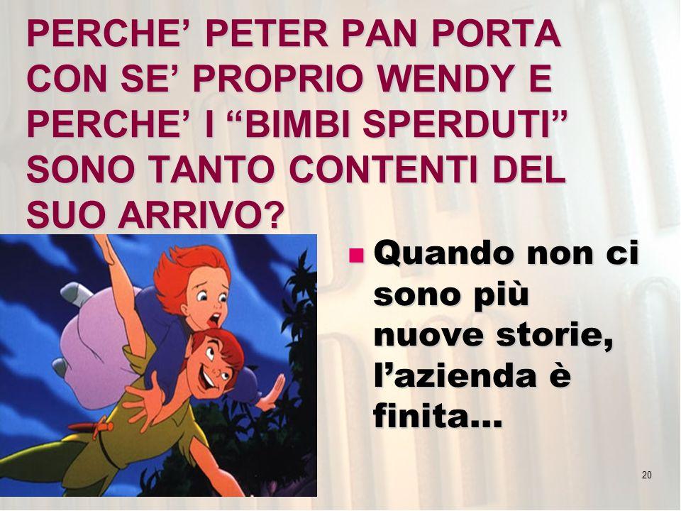 20 PERCHE PETER PAN PORTA CON SE PROPRIO WENDY E PERCHE I BIMBI SPERDUTI SONO TANTO CONTENTI DEL SUO ARRIVO.