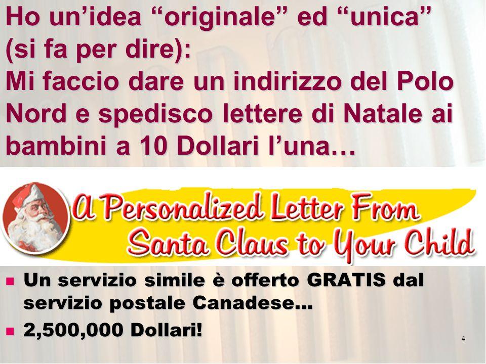 4 Ho unidea originale ed unica (si fa per dire): Mi faccio dare un indirizzo del Polo Nord e spedisco lettere di Natale ai bambini a 10 Dollari luna…