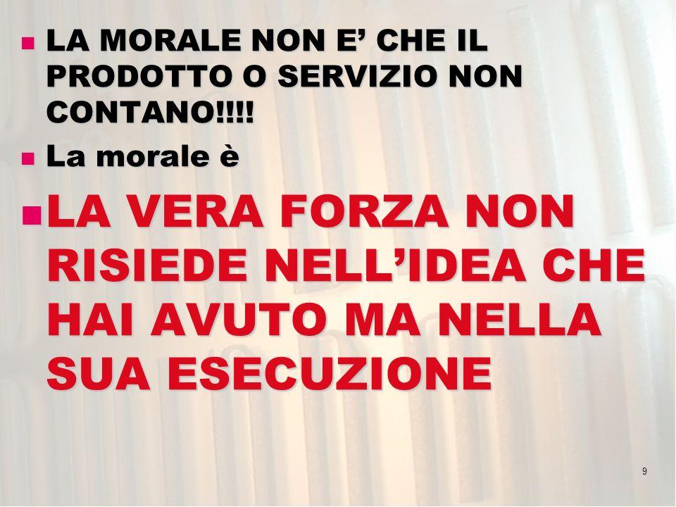 9 LA MORALE NON E CHE IL PRODOTTO O SERVIZIO NON CONTANO!!!! LA MORALE NON E CHE IL PRODOTTO O SERVIZIO NON CONTANO!!!! La morale è La morale è LA VER