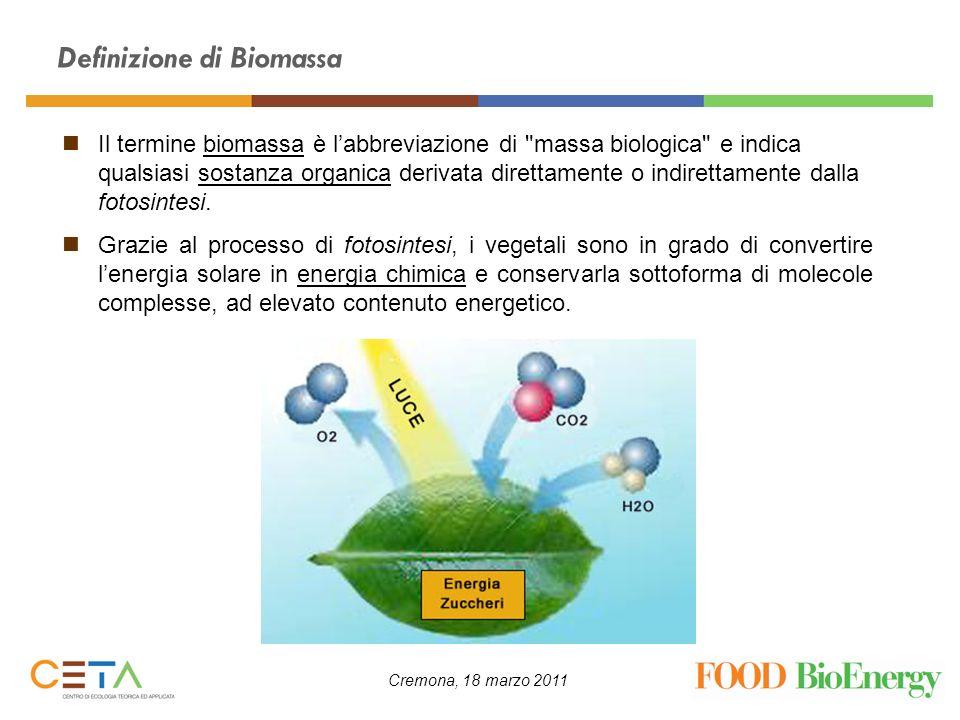 Cremona, 18 marzo 2011 Il termine biomassa è labbreviazione di