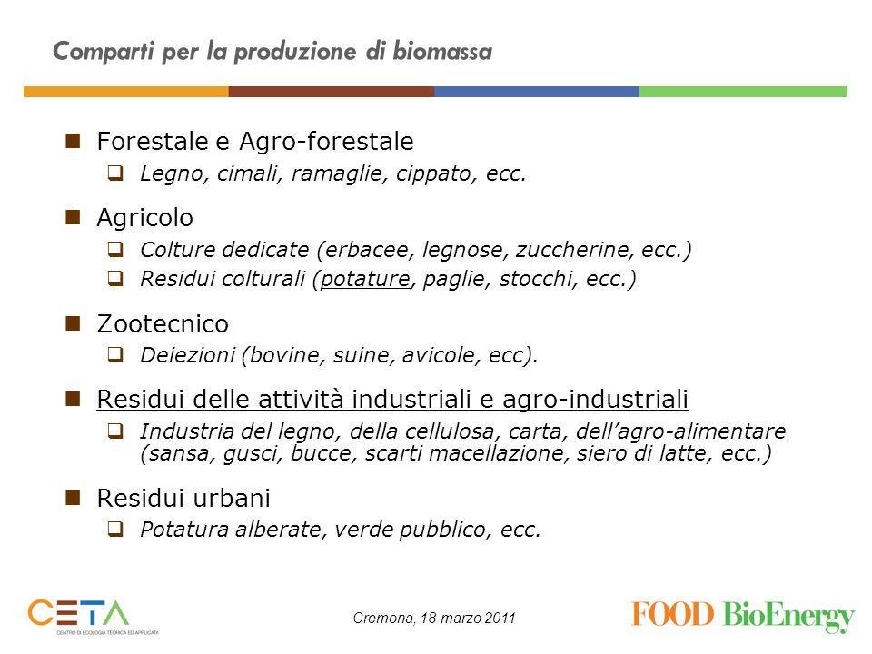 Cremona, 18 marzo 2011 Forestale e Agro-forestale Legno, cimali, ramaglie, cippato, ecc. Agricolo Colture dedicate (erbacee, legnose, zuccherine, ecc.