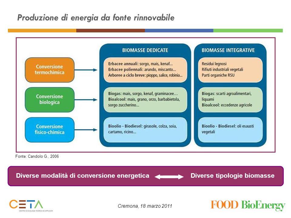 Cremona, 18 marzo 2011 Produzione di energia da fonte rinnovabile Diverse modalità di conversione energeticaDiverse tipologie biomasse Fonte: Candolo