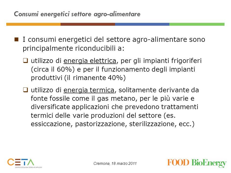 Cremona, 18 marzo 2011 Consumi energetici settore agro-alimentare I consumi energetici del settore agro-alimentare sono principalmente riconducibili a