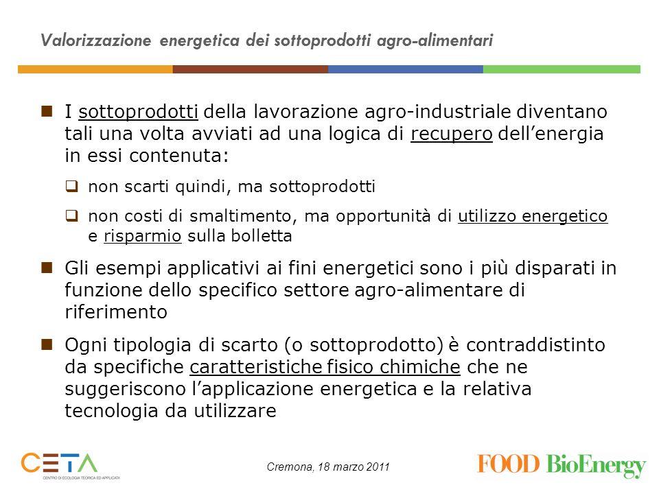 Cremona, 18 marzo 2011 Valorizzazione energetica dei sottoprodotti agro-alimentari I sottoprodotti della lavorazione agro-industriale diventano tali u