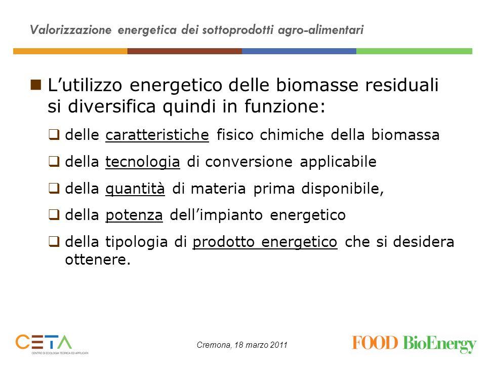 Cremona, 18 marzo 2011 Valorizzazione energetica dei sottoprodotti agro-alimentari Lutilizzo energetico delle biomasse residuali si diversifica quindi