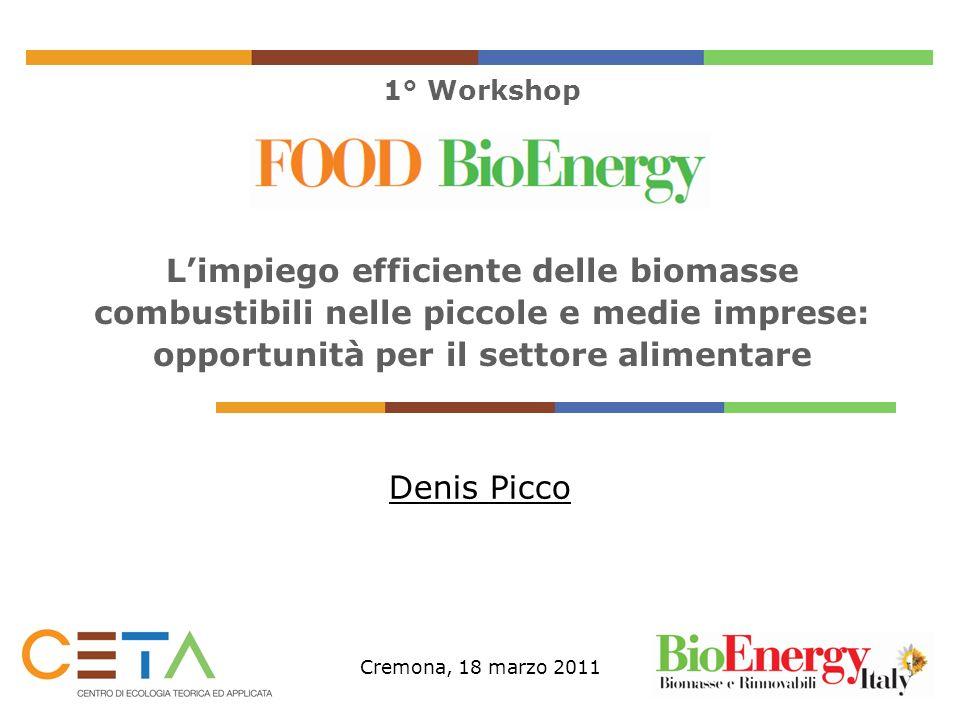 1° Workshop Limpiego efficiente delle biomasse combustibili nelle piccole e medie imprese: opportunità per il settore alimentare Denis Picco Cremona,