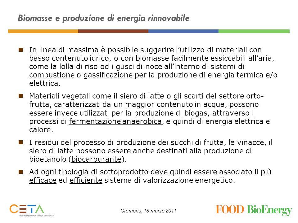 Cremona, 18 marzo 2011 Biomasse e produzione di energia rinnovabile In linea di massima è possibile suggerire lutilizzo di materiali con basso contenu