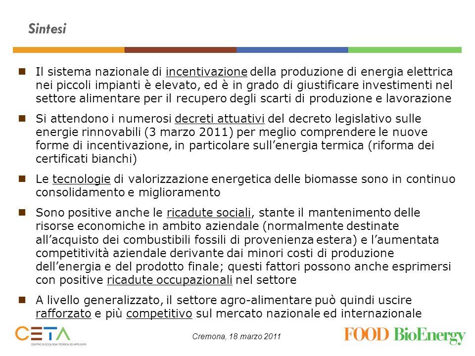 Cremona, 18 marzo 2011 Sintesi Il sistema nazionale di incentivazione della produzione di energia elettrica nei piccoli impianti è elevato, ed è in gr