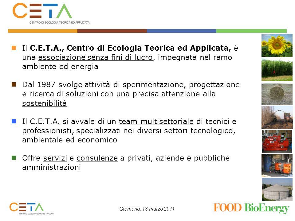 Cremona, 18 marzo 2011 Consumi energetici settore agro-alimentare I consumi energetici del settore agro-alimentare sono principalmente riconducibili a: utilizzo di energia elettrica, per gli impianti frigoriferi (circa il 60%) e per il funzionamento degli impianti produttivi (il rimanente 40%) utilizzo di energia termica, solitamente derivante da fonte fossile come il gas metano, per le più varie e diversificate applicazioni che prevedono trattamenti termici delle varie produzioni del settore (es.