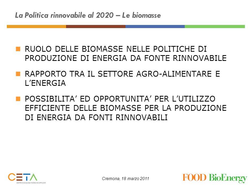 Cremona, 18 marzo 2011 La Politica rinnovabile al 2020 – Le biomasse La Direttiva europea RES (2009/28/CE), sulla promozione delluso dellenergia da fonti rinnovabili, ha stabilito precisi obbiettivi da raggiungere entro il 2020, in termini di energia rinnovabile, per una quota complessiva a scala europea del 20% (trasporti il 10%) sui consumi di energia primaria LItalia deve raggiungere il 17% (trasporti il 10%) Il 3 marzo 2011 è stato approvato il decreto legislativo che recepisce la Direttiva 2009/28/CE (di prossima pubblicazione) Il Piano di azione nazionale delle energie rinnovabili dellItalia(PAN) definisce la strategia e gli strumenti da adottare per raggiungere i risultati nei tempi previsti (giugno 2010)