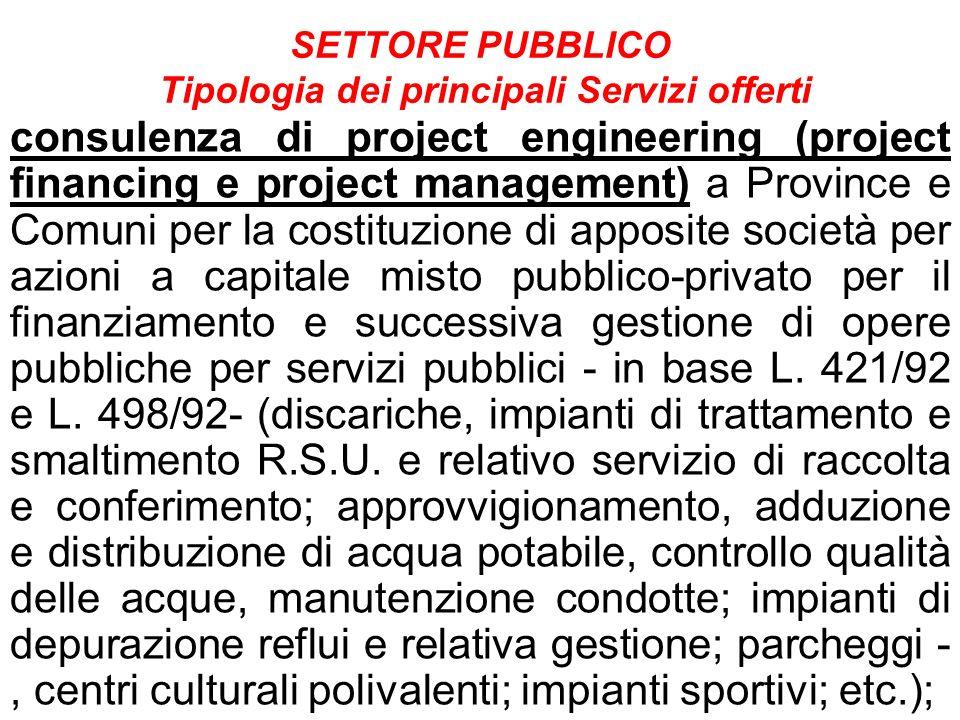 SETTORE PUBBLICO Tipologia dei principali Servizi offerti consulenza di project engineering (project financing e project management) a Province e Comu