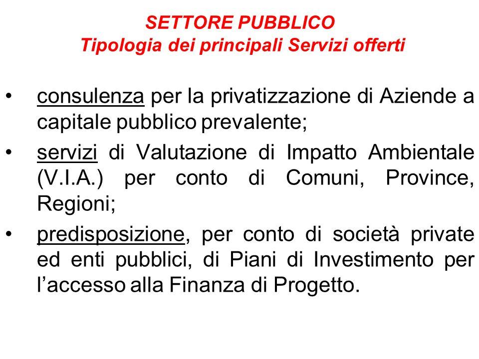SETTORE PUBBLICO Tipologia dei principali Servizi offerti consulenza per la privatizzazione di Aziende a capitale pubblico prevalente; servizi di Valu