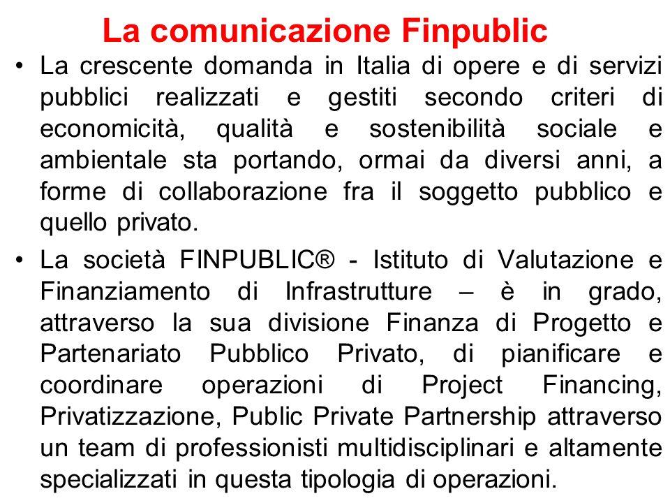 La comunicazione Finpublic La crescente domanda in Italia di opere e di servizi pubblici realizzati e gestiti secondo criteri di economicità, qualità