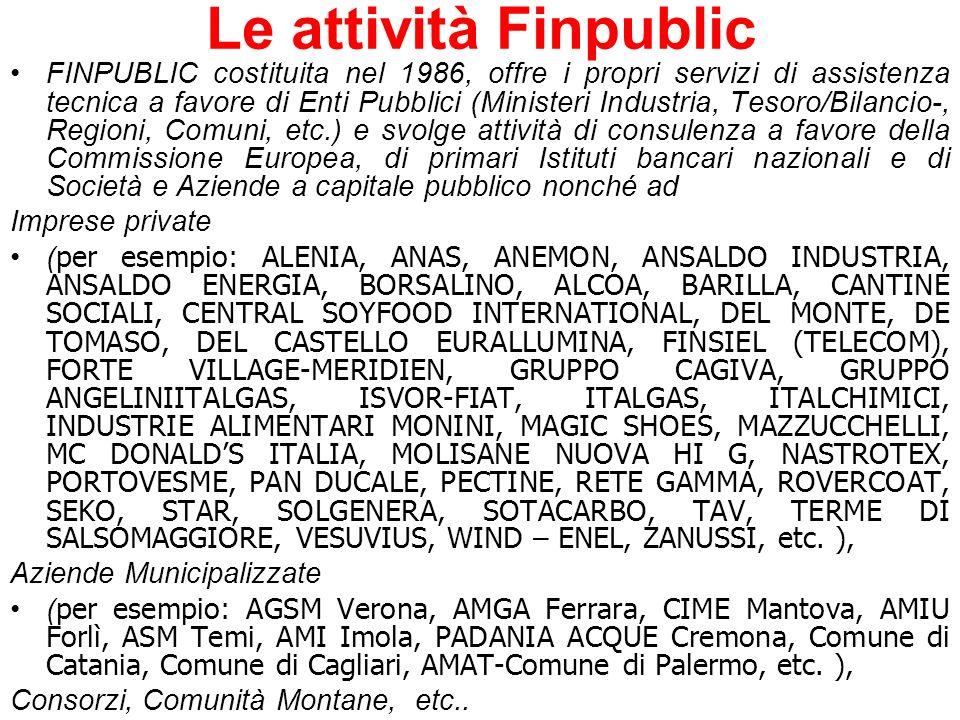 Le attività Finpublic FINPUBLIC costituita nel 1986, offre i propri servizi di assistenza tecnica a favore di Enti Pubblici (Ministeri Industria, Teso