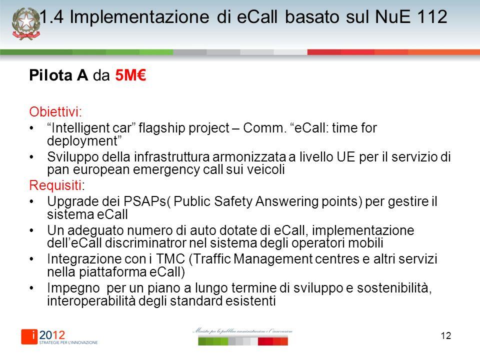 12 1.4 Implementazione di eCall basato sul NuE 112 Pilota A da 5M Obiettivi: Intelligent car flagship project – Comm. eCall: time for deployment Svilu
