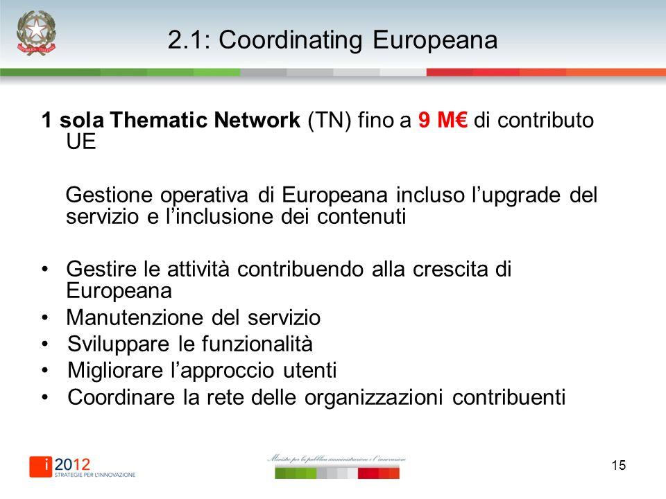 15 2.1: Coordinating Europeana 1 sola Thematic Network (TN) fino a 9 M di contributo UE Gestione operativa di Europeana incluso lupgrade del servizio