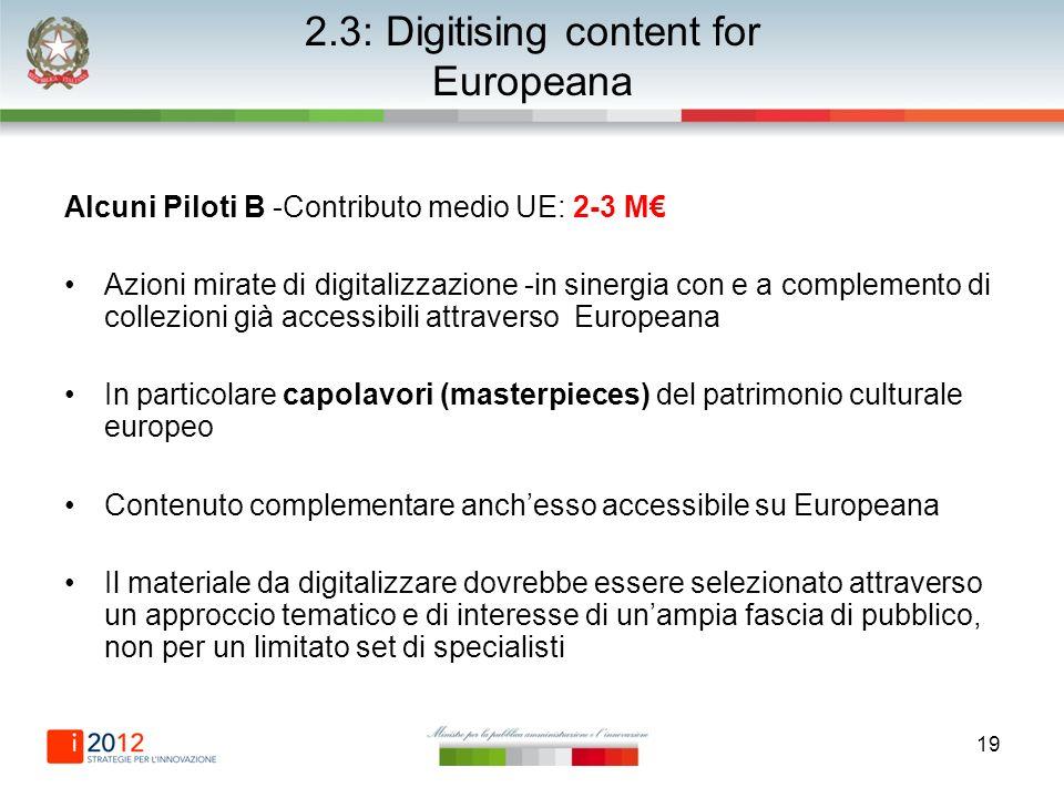 19 2.3: Digitising content for Europeana Alcuni Piloti B -Contributo medio UE: 2-3 M Azioni mirate di digitalizzazione -in sinergia con e a complement