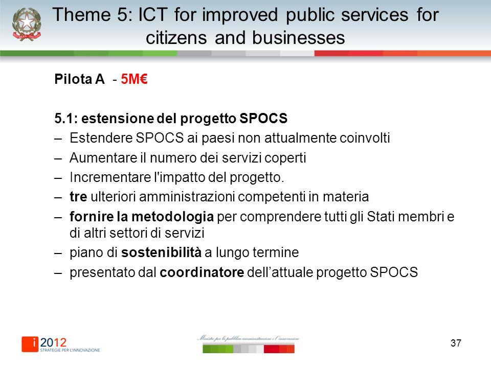 37 Theme 5: ICT for improved public services for citizens and businesses Pilota A - 5M 5.1: estensione del progetto SPOCS –Estendere SPOCS ai paesi non attualmente coinvolti –Aumentare il numero dei servizi coperti –Incrementare l impatto del progetto.