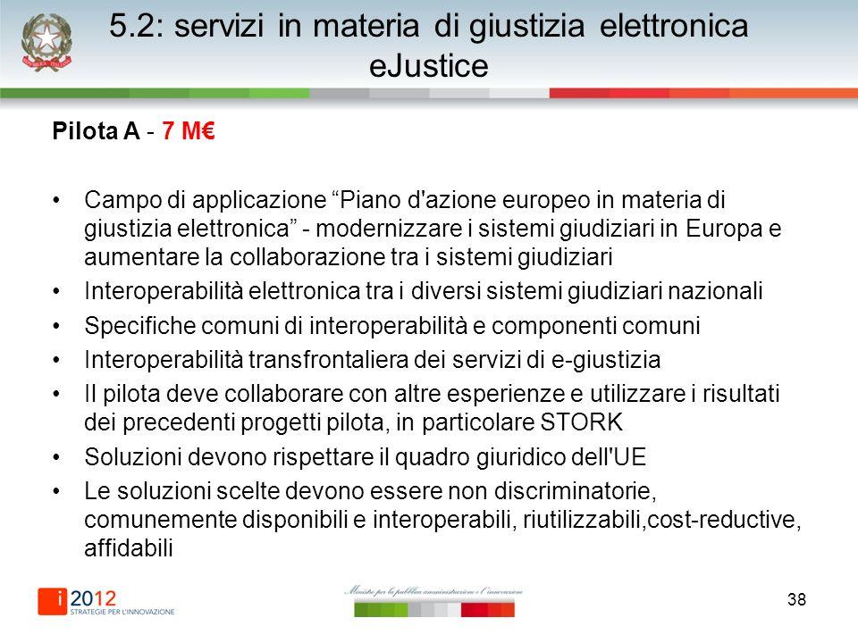 38 5.2: servizi in materia di giustizia elettronica eJustice Pilota A - 7 M Campo di applicazione Piano d'azione europeo in materia di giustizia elett