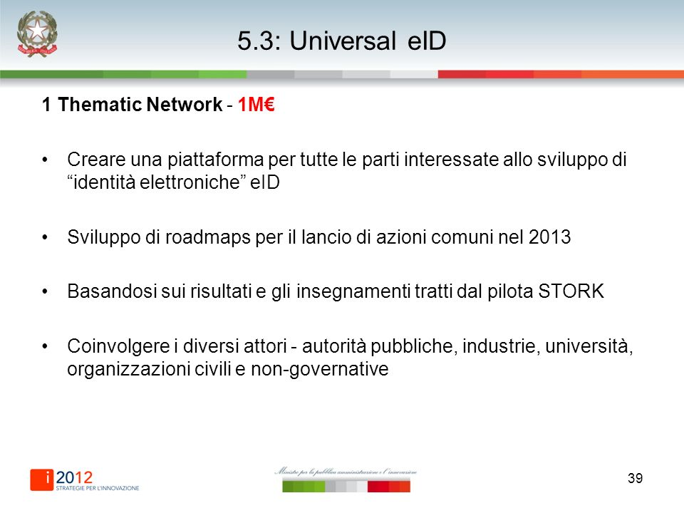 39 5.3: Universal eID 1 Thematic Network - 1M Creare una piattaforma per tutte le parti interessate allo sviluppo di identità elettroniche eID Svilupp