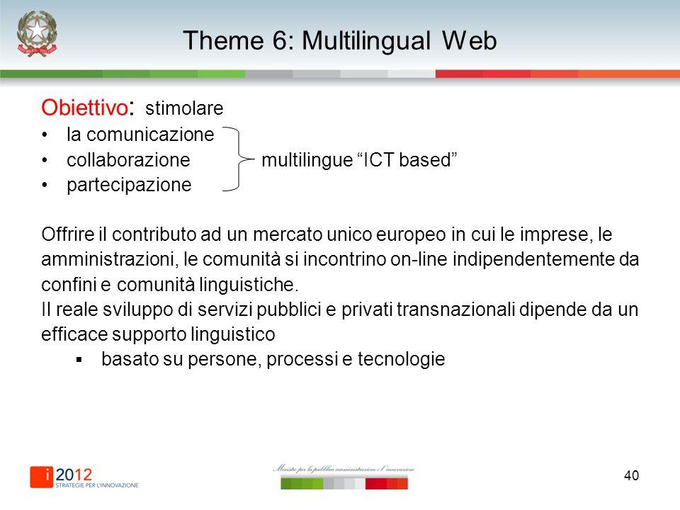 40 Theme 6: Multilingual Web Obiettivo : stimolare la comunicazione collaborazione multilingue ICT based partecipazione Offrire il contributo ad un mercato unico europeo in cui le imprese, le amministrazioni, le comunità si incontrino on-line indipendentemente da confini e comunità linguistiche.