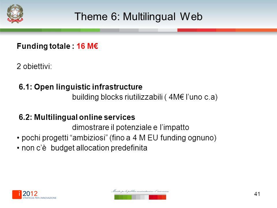 41 Theme 6: Multilingual Web Funding totale : 16 M 2 obiettivi: 6.1: Open linguistic infrastructure building blocks riutilizzabili ( 4M luno c.a) 6.2: Multilingual online services dimostrare il potenziale e limpatto pochi progetti ambiziosi (fino a 4 M EU funding ognuno) non cè budget allocation predefinita