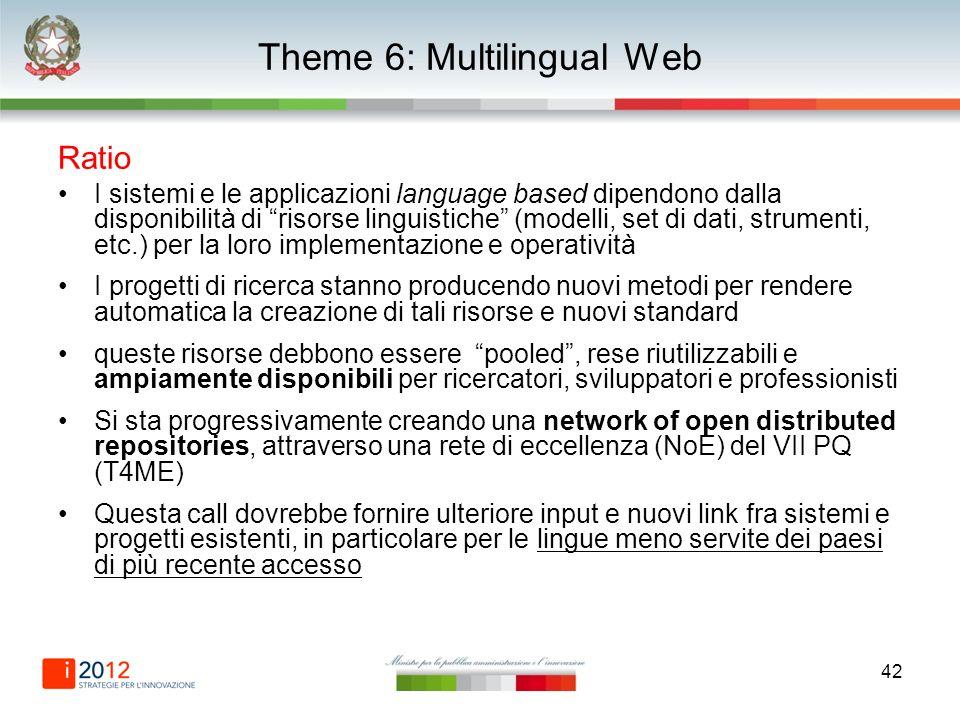 42 Theme 6: Multilingual Web Ratio I sistemi e le applicazioni language based dipendono dalla disponibilità di risorse linguistiche (modelli, set di d