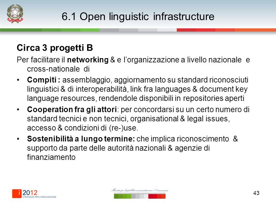 43 6.1 Open linguistic infrastructure Circa 3 progetti B Per facilitare il networking & e lorganizzazione a livello nazionale e cross-nationale di Com